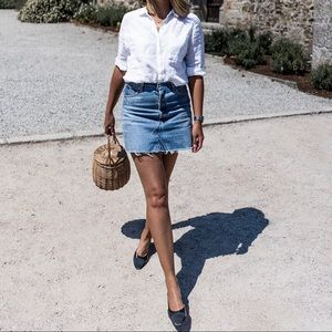Topshop Distressed Raw Hem Denim Mini Skirt